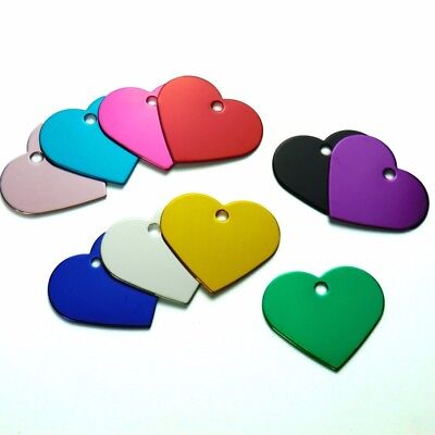 100Pcs Heart Personalised Dog Tags Engraved Cat Puppy Pet ID Name Collar Cat Tag