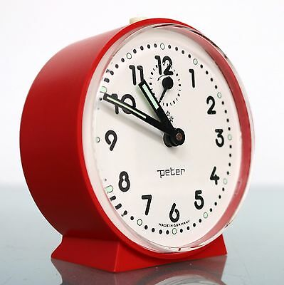 Vintage PETER German Alarm Clock TOP! Mantel Red / White Mid Century Space Age!