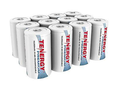 Tenergy 10000mAh D Size High Capacity Premium NiMH Rechargeable Battery Cell Lot