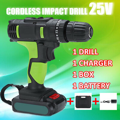 25V 2-Speed Cordless Impact Drill Driver Electric Screwdriver 18+1 N.M W/Battery