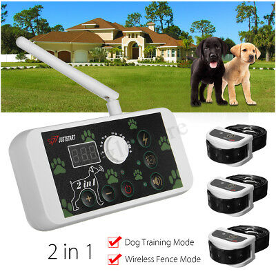 Wireless Electric Dog Pet Fence Containment System Transmitter 3 Collar No-Wire