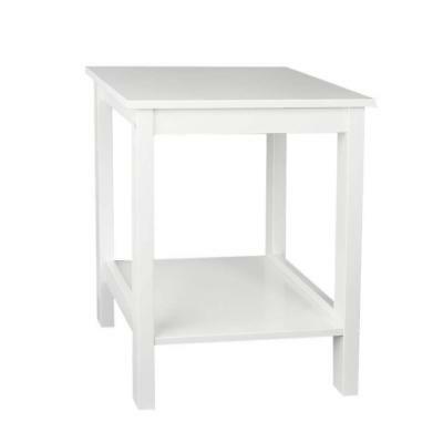 Woodluv Bedside MDF Table Shelf Cabinet with Bottom Storage Unit- White