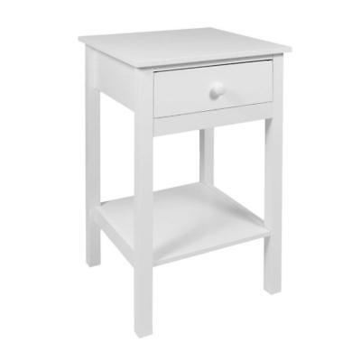 woodluv Bedside Drawer with Shelf Cabinet Side Table Storage Unit, Wood, White