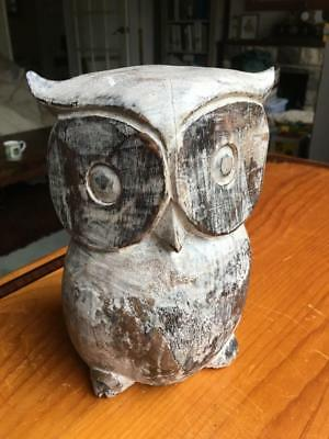"""Large 8"""" Tall Hand Carved Wooden Owl"""