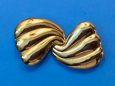 Vintage Antique two piece Sold tone Scarf Clip Signed Belt Buckle by ?