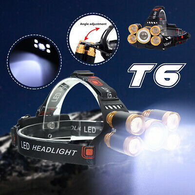 Elfeland 50000LM Zoomable 5 LED T6 Headlamp Head Light Lamp Torch 18650 Battery