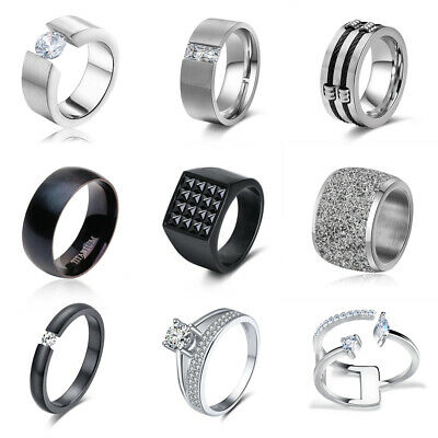 Men Women Stainless Steel Crystal CZ Wedding Band Ring Silver Black Size 5-13