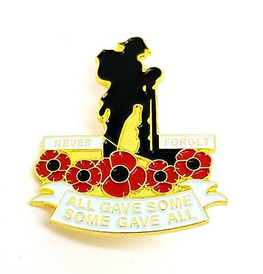Remembrance Day Never Forget All Gave Some Poppy Soldier Lapel Pin Badge Brooch