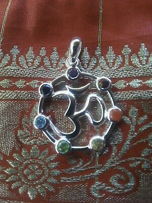 649 Chakra Om solid 925 sterling silver pendant 7 faceted gemstones rrp $69.95