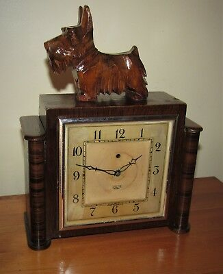 Nice 1930's Smiths Sectric Art Deco Electric Mantle Clock & Scottie Dog Figure