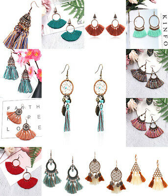 Vintage Womens Tassel Earrings Dangle Alloy Resin Bohemian Fashion Pendant