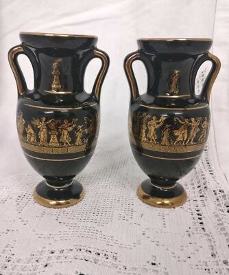 Pair Of Vintage hand made 24ct Gold plated pottery vases Greek Black Gilding
