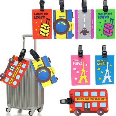 Silicone Cartoon Cute Tag Card Case Baggage Suitcase Label Holder Travel Tags
