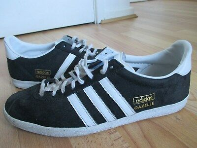 3f9f427e523b Mens Black and White Suede Adidas Originals Gazelle Trainers (Size Uk 10)