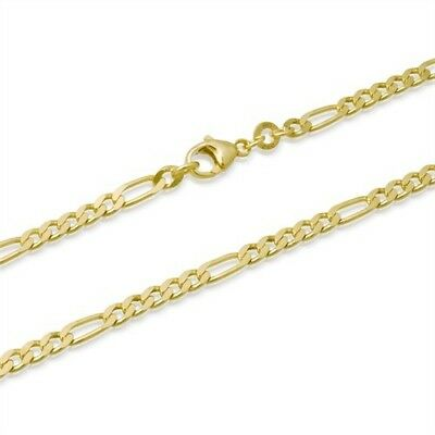 1mm  14k GOLD PLATED STERLING SILVER 925 ITALY DIAMOND CUT FIGARO CHAIN NECKLACE