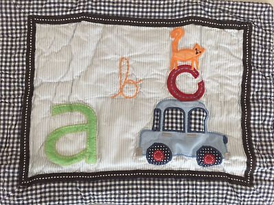 POTTERY BARN KIDS ANIMAL ALPHABET NAVY Quilted Pillow Sham Nursery GINGHAM ABCS