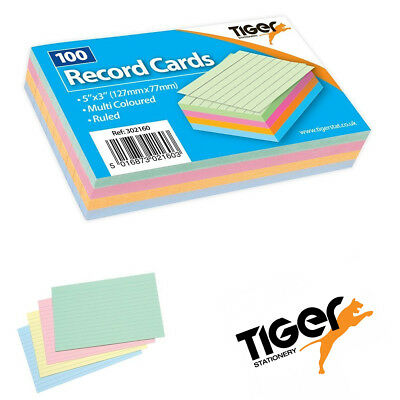 """Pack of 100 Multicoloured Record Flash Cards For Study,Promps & Revisions  5x3"""""""