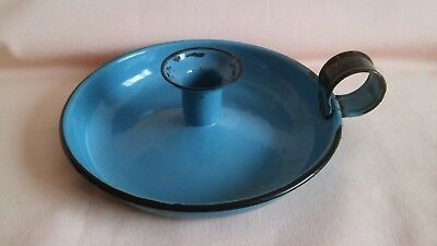 Vintage  Rare Blue Colour Enamel Candle Holder In Well Used Vintage Condition.