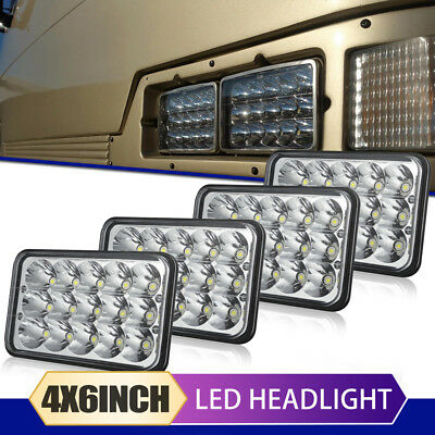 "4pcs 4""x6"" Led Headlights Fit Kenworth T800 Peterbilt Sealed Beam Light Bulbs"