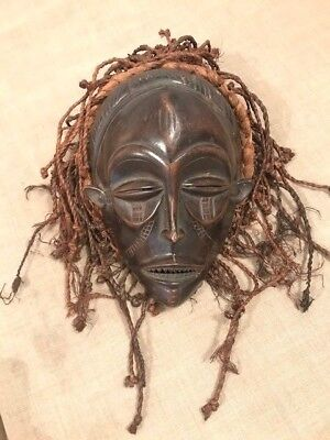 Genuine Antique Chokwe African Mask with Horsehair