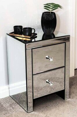 Two Drawer Glass Mirrored Bedside Table Cabinet Unit Bedroom Furniture Crystal H