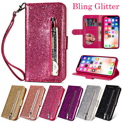Bling Glitter Leather Flip Wallet Card Slot Case Cover For iPhone Samsung Huawei