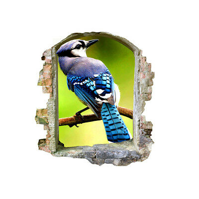 Wall Stickers Blue Bird Animal Nature Cool  Bedroom Girls Boys Living Room D325