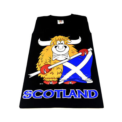 Scottish Highland Cow with Saltire Flag Mens Adult T-Shirt - Black