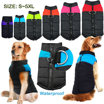 Waterproof Pet Small Large Dog Puppy Clothes Winter Warm Padded Coat Vest Jacket