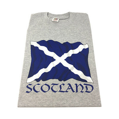 GREAT GIFT : Adults Scotland Saltire Flag Mens Adults Scottish T-Shirt - Grey