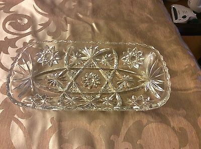 Vintage Anchor Hocking Early American Pressed Cut Glass Serving Dish Platter