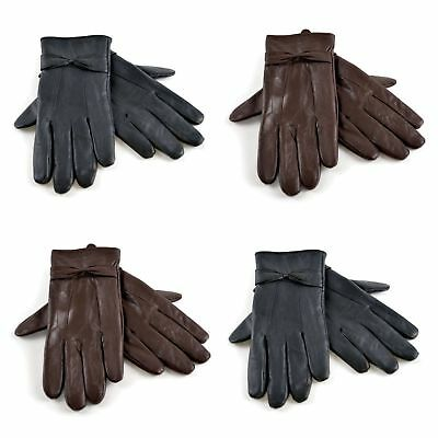 Ladies Soft Leather Fleece Lined Warm Winter Gloves with Bow S/M M/L