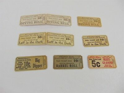 Lot of 9 Vintage 1930s-40s WHITNEY Bros PLAYLAND at The Beach 5¢ 10¢ TICKETS