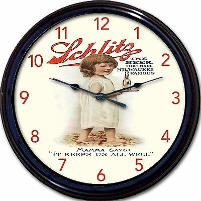 """Schlitz Beer Ad Milwaukee WI Wall Clock The Beer That Made Milwaukee Famous 10"""""""