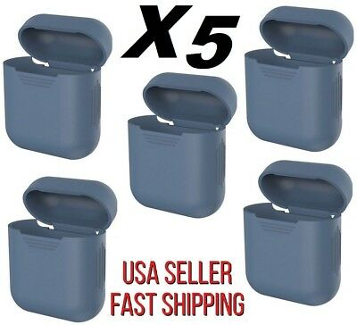 Pack of 5* Silicone Skin AppleAirPods Charging Protective Case Cover Navy Blue*