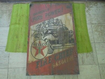 """Texaco Fire Chief Gasoline WOOD SIGN 32""""x20"""" Vintage look Advertising"""