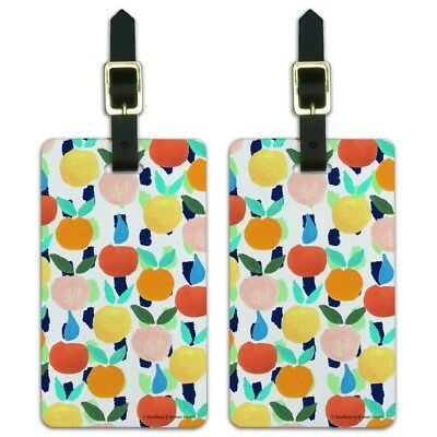 Colorful Citrus Tropical Fruits Pattern Luggage ID Tags Cards Set of 2