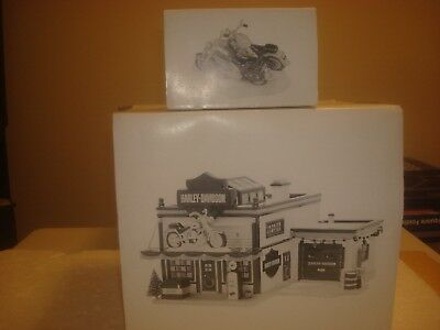 DEPT 56 Set of 2: Harley-Davidson Motorcycle Shop & Harley Fat Boy & Softail