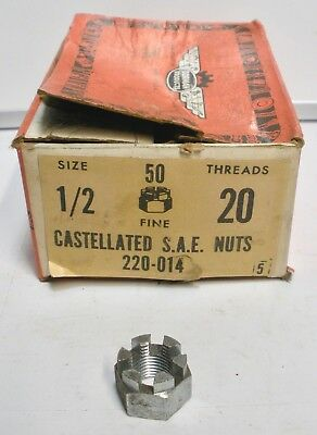 "Dorman # 220-014 FINE 1/2""-20 Castellated SAE 3/4"" Hex Castle Nut - 1 NUT ONLY"