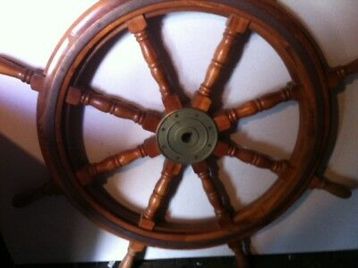 """34"""" Authentic 8 Spoke Antique  Wood and Brass Nautical Ship Wheel"""