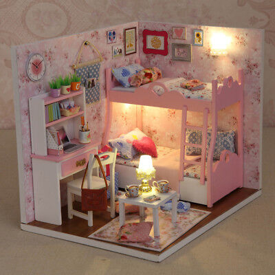NEW DIY Dream Wooden Doll House Furniture Handcraft Miniature Kit with LED Light