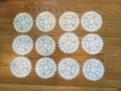 "Antique 1880's 12 crocheted, 6"" doilies. Gorgeous, excellent condition"