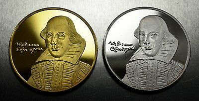 Pair of WILLIAM SHAKESPEARE Commemoratives. 925 silver and 24ct Gold Finish