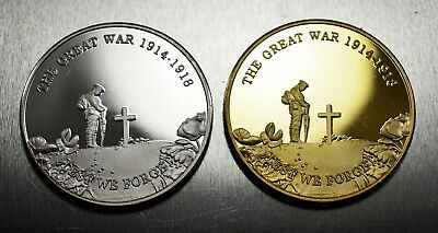 Pair Commemorative World War 1 Armistice/Remembrance Day Coin Lest We Forget WW1
