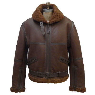 WWII Men's RAF Ginger REAL Sheepskin Shearling Aviator Flying Jacket