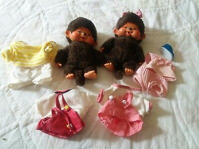 """Vintage 1970's Monchichi Dolls, Boy and Girl, Plus 4 Outfits Size 5.5"""""""
