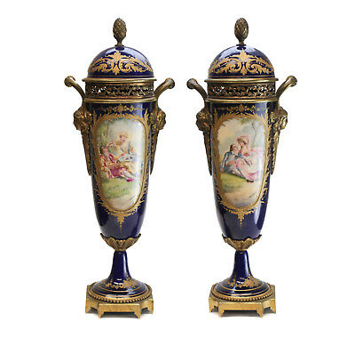 Pair Sevres Style LN France Double Handled Lidded Urns, Signed circa 1900