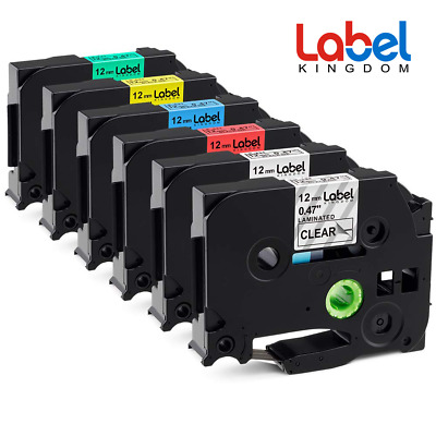 """6PK TZ TZe-131 231 431 631 334 335 Compatible Brother P-touch Label Tape 1/2"""""""