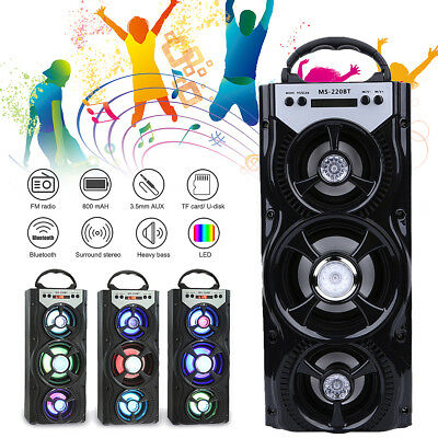 Party Speaker System Bluetooth Big LED Portable Stereo Light Up Tailgate Loud US