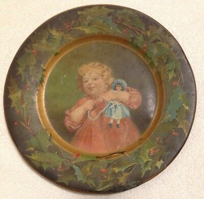 Vintage Tin Plate Child Doll Compliments C D Kenny Co. Victorian Girl Play Dolls